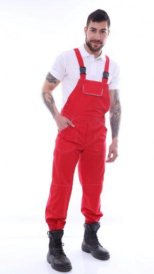 pantalon cu piepetar rosu