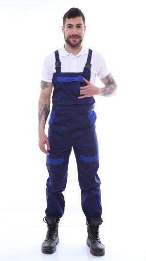 pantalon cu pieptar cu garnituri