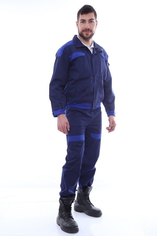 costum de salopeta cu garnituri albastre
