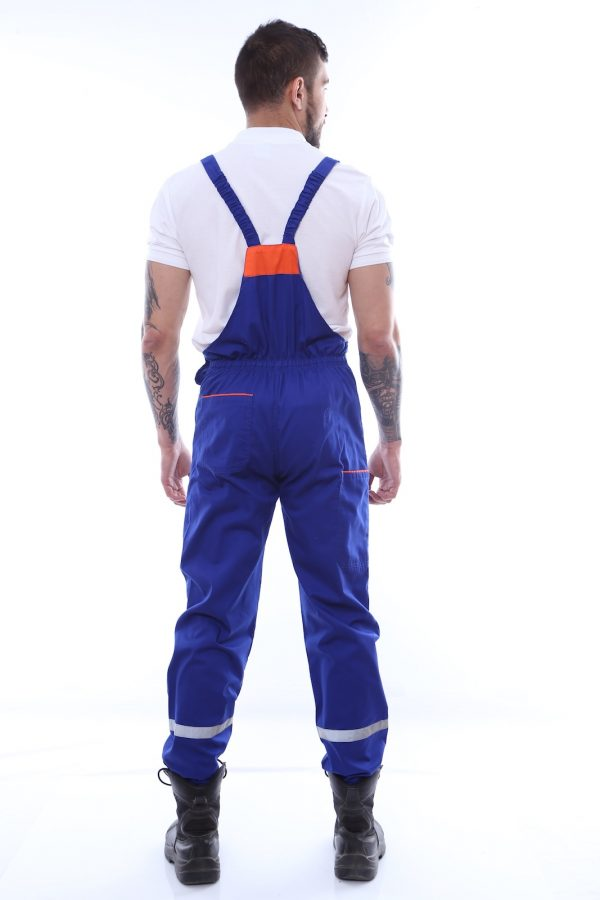 pantallon cu pieptar cu benzi reflectorizante