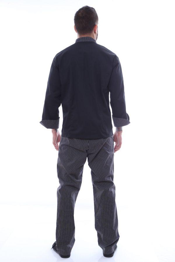 costum bucatar negru spate