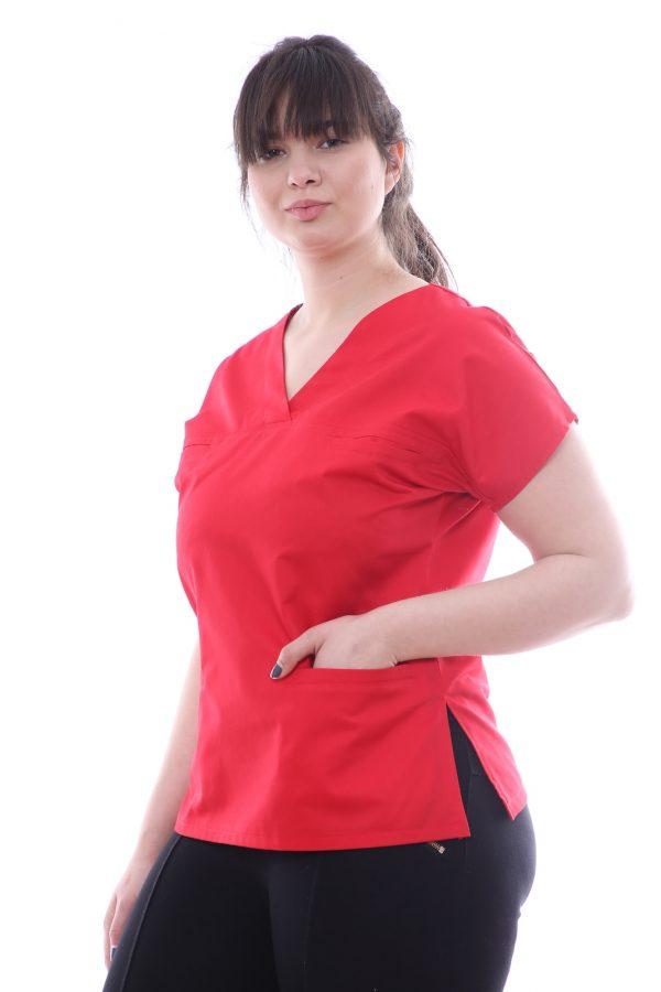 bluza medic rosie cu buzunare