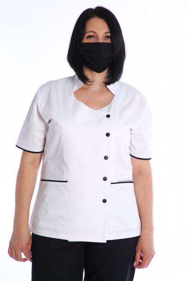 bluza medic cu masca de protectie neagra