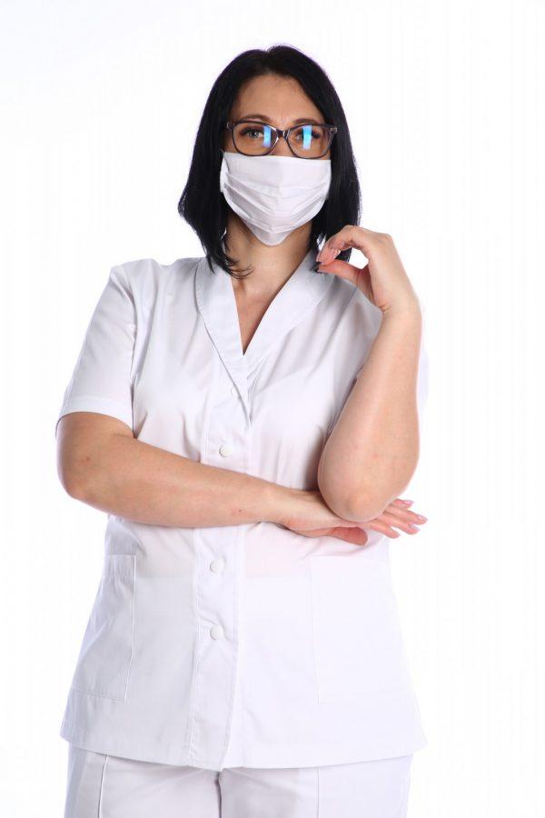 bluza spital cu masca de protectie alba