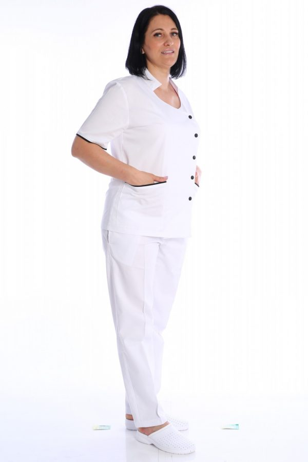 costum medical alb cu capse
