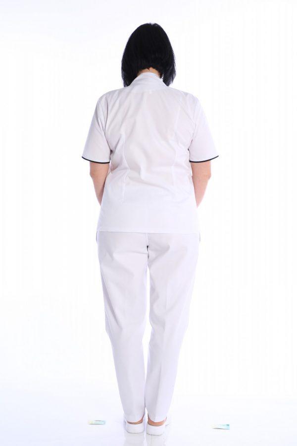 costum medical alb cu capse alexandra
