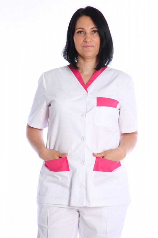 halat medic alb cu garnitura roz
