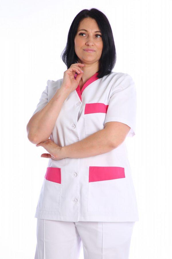 bluza medic alba cu garnitura roz