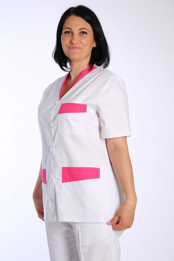 halat medic alb cu garnituri