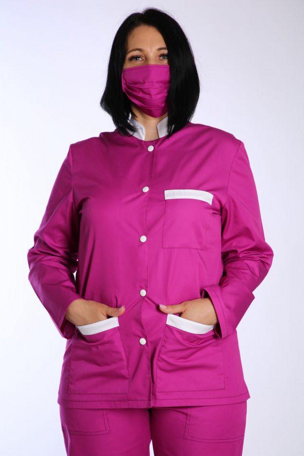bluza medicala cu masca roz