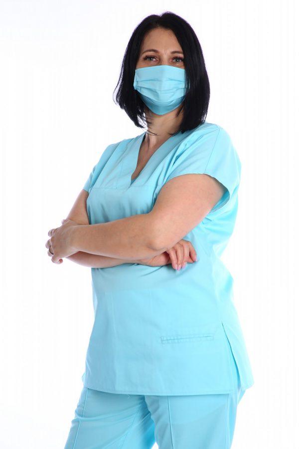 bluza medic cu masca bleu